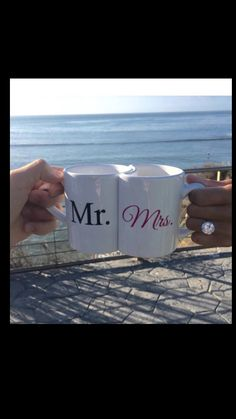 Mr. and Mrs. nesting mug set with heart shaped by GroomSocks