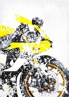 "Beautiful ""My Superbike series, artwork b."" metal poster created by Steven . Yamaha R1, Ducati, Custom Motorcycles, Cars And Motorcycles, Bike Poster, Super Bikes, Bike Life, Exotic Cars, Biker"