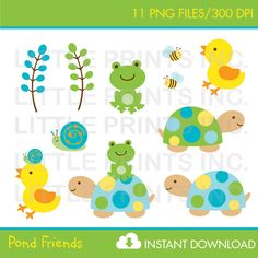 Turtle Frog Clipart INSTANT DOWNLOAD
