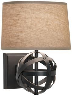 Robert Abbey Lucy Bronze Finish Plug-In Wall Sconce | LampsPlus.com  For our library wall...