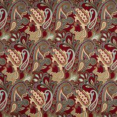 Aqua and Beige Geometric Foliage Paisley Brocade Upholstery Fabric