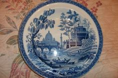 """Old Antique SPODE Georgian Blue Room Collection ROME Pattern Deep Plate Bowl  9"""" own a similar one"""