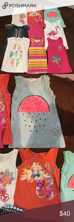 Girls summer tops, set of 9, size 6-8, 7-8 Set of 9 girls summer tanks; used, but in great condition; H&M, Children's Place, Old Navy; each $5, or all $40 Different brands Tops Tank Tops