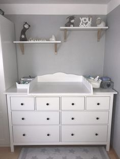 cozy changing place - changing top for the Ikea -Hemnes chest of drawers, many . - cozy changing place – changing top for the Ikea -Hemnes chest of drawers, thank you for the pictu - Baby Bedroom, Baby Boy Rooms, Baby Boy Nurseries, Nursery Room, Kids Bedroom, Nursery Ideas, Baby Room Furniture, Baby Room Decor, Ikea Baby Room