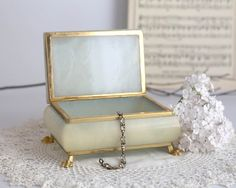Vintage Alabaster Small Jewelry Trinket Box by TheHeirloomShoppe