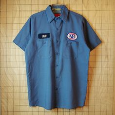【UniFirst】古着USA製ブルーグレーEMERGENCY SERVICE半袖ワークシャツ(青灰)|メンズMサイズ