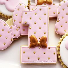 """12 - Minnie Mouse """"NUMBER"""" Cookies - 1 Dozen - Pink and Gold Pearls and Ribbon Minnie Mouse Birthday Favors by NYCookiesByVictoria on Etsy"""