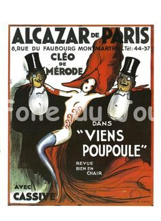 Cleo de Merode in French cabaret - Sexy french girl with men with tuxedo and top hat poster - black and red - home decor. $12.00, via Etsy.