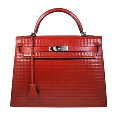 Hermes - RARE 30 cm Hermes Pattern Box Leather Brick Red Kelly Bag