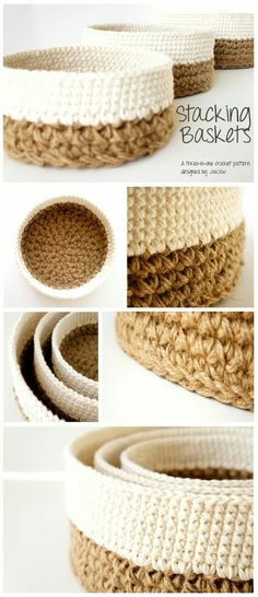Stacking Baskets 3 PDF Crochet Patterns Jute and Cotton Nesting Bowls Natural. - to do at home - Stacking Baskets 3 PDF Crochet Patterns Jute and Cotton Nesting Bowls Natural Materials JaKiGu - Crochet Basket Pattern, Crochet Baskets, Crochet Bags, Crochet Ideas, Small Crochet Gifts, Diy Crochet Projects, Crochet Animals, Crochet Designs, Confection Au Crochet