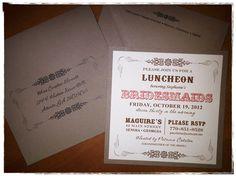 Vintage Bridesmaid Luncheon Invitation  www.moorecustomcreations.com