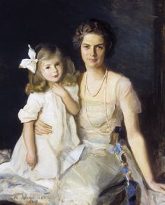 Portrait of Ruth Wales du Pont (Mrs. Henry Francis du Pont) and Her Daughter Pauline Louise by Harrington Mann from Winterthur, Museum, Garden & Library Beautiful Soul, Beautiful Babies, Mother And Father, Mothers, Blessed Mother, Cute Little Girl Dresses, Winterthur, Vintage Artwork, Family Portraits
