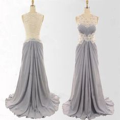 Charming Gray Ivory Formal Maxi Cheap Sleeveless Elegant Long Prom Dresses, WG222
