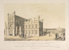 Engraving of the Grant Medical College showing part of Sir Jamsetjee Jeejeebhoy's Hospital in Bombay by G. R. Sargent from his own drawing and published by him in London in 1844. The engraving was printed by M & N Hanhart. The Grant Medical College and the Jamsetjee Jeejeebhoy Hospital were built in the 1840s and funded jointly by Jamsetjee Jeejeebhoy and the East India Company. Jamsetjee Jeejeebhoy (1783-1859) was a Parsi merchant and eminent philanthropist. The Grant Medical College is…