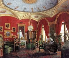 The Cabinet. The Suite of Empress Alexandra Feodorovna at the Winter Palace in Saint Petersburg. Depicted in gouache by court painters c. 1850
