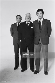 French actors (L-R) Italian actor Lino Ventura, Jean Gabin and Alain Delon on the set of the movie The Sicilian Clan (Le clan des Siciliens), directed by Henri Verneuil, in 1969 in France.
