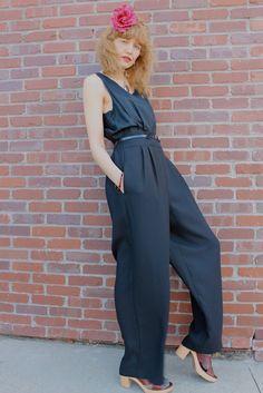 Vintage 80's Black Jump Suit DESPERATELY by moonchildvintage, $34.00