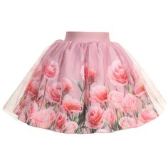 LOVE MADE LOVE (A/W 2015/2016) Love Made Love Pink Tulle Skirt with 3D Roses Print at Childrensalon.com