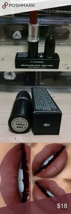 "Mac Amplified Lipstick ""Tabla"" Beautiful fall lipstick color from Mac ""Tabla"". Discontinued color, no longer available at MAC. Looks great on every complexion. 100% AUTHENTIC 100% Brand New!!! MAC Cosmetics Makeup Lipstick"