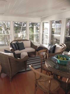 Covered porch with wicker furniture