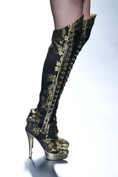 Maya Hansen Stunning Black & Gold High Heeled Boots Spring Summer 2014 #Shoes #Heels