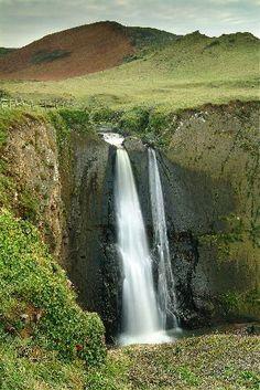 Spekes Mill Waterfall, North Devon coast just south of Hartland Quay.