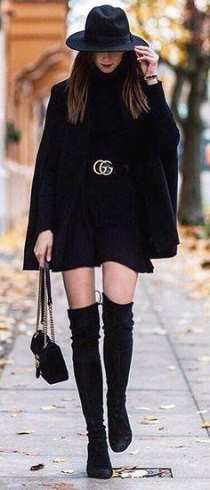 Black Coat // Black Dress // Knee Length Boots // Black Hat Source