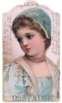 Lady in blue hat & dress on writing background says Nostalgia at the bottom. Vintage Tags, Vintage Labels, Vintage Ephemera, Vintage Postcards, Vintage Prints, Vintage Christmas Images, Fabric Journals, Paper Tags, Looks Vintage