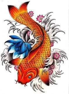Amazing Carp Fish With Flowers Tattoo Design
