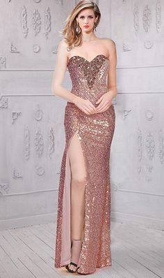 Sheath High Slit Long Nude Sequin Beaded Evening Prom Dress Petite Bridesmaids Dresses, Nude Prom Dresses, Dance Dresses, Homecoming Dresses, Simple Fall Outfits, Fall Fashion Outfits, Vintage Prom, Sequin Gown, Pageant Gowns
