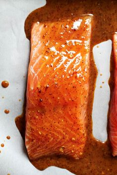 Spicy Glazed Maple Salmon for two makes the perfect weeknight dinner. All you need is 20 minutes to make this healthy meal. Serve with sweet potato fries and veggies, or a lovely kale and brussels sprouts salad!