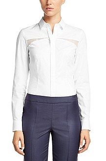 Hugo Boss Blouse 'Bewina' in cotton blend, White
