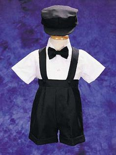 Baby Boys Suspenders and Shorts with Cap Set