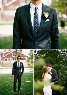 Costume bleu marine et cravate à pois