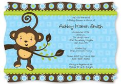 Baby shower invitations set the tone for the entire party. Start your baby shower out right by inviting everyone to mommy's special day with Monkey Boy personalized baby shower invitations. Baby Shower Templates, Baby Shower Invitation Templates, Baby Shower Invitations For Boys, Party Invitations, Invites, Invitation Ideas, Monkey Invitations, Boy Baby Shower Themes, Baby Shower Parties