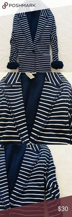 NWT Gap navy blue stripe blazer GAP navy and white striped features front patch pockets, single button , closure, and is fully lined in solid navy blue soft and comfy cotton/ poly mixed NWT Gap Jackets & Coats Blazers