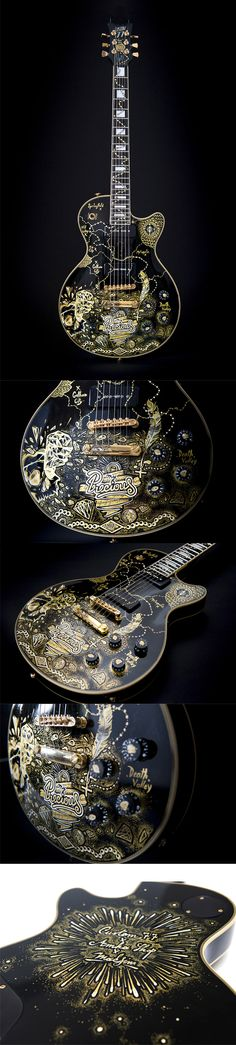 """Guitare custom """"My precious"""" by Maksim. Stunning. More informations here : http://www.amkashop.com/guitare/guitare-detail.php?detail=1904"""