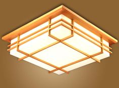 Japanese Indoor Lighting LED Ceiling Light Lamp Square 45-55cm Tatami Decor Shoji Lamp Wood Paper Restaurant Living Room Hallway(China (Mainland))