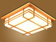 Japanese Indoor Lighting LED Ceiling Light Lamp Square 45-55cm Tatami Decor Shoji Lamp Wood Paper Restaurant Living Room Hallway(China (Mainland))