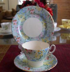 SHELLEY Fine Bone China **MELODY CHINTZ TRIO** Pattern# 12974 Vintage China, Vintage Tea, Antique China, Tea Cup Saucer, Tea Cups, Antique Dishes, China Tea Sets, Teapots And Cups, Rose Tea