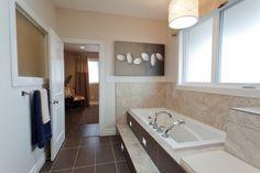 Narrow bathroom Brown floor