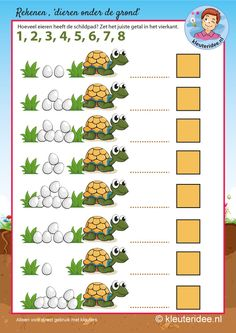 Rekenen met schildpad voor kleuters,kleuteridee, eieren tellen, kindergarten turtle maths, counting eggs, free printable. Counting Activities, Class Activities, Toddler Activities, Preschool Math, Kindergarten Math, Animal Coverings, Turtle Pattern, My Father's World, Pond Life