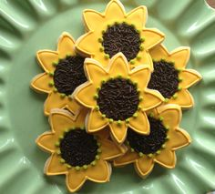Sunny Sunflower Sugar Cookies by NotBettyCookies on Etsy, $36.00. Maybe in the bridesmaids box or other wedding gifts.