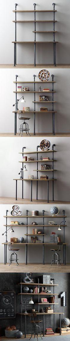 Industrial Pipe Desk & Shelving Unit