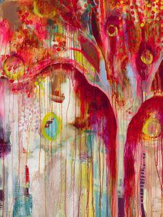 """Oh That Tree"" Abstract Magenta Wall Art by Flora Bowley & Jennifer Mercede for GreenBox Art + Culture Art Journal Inspiration, Painting Inspiration, Flora Bowley, Painting Workshop, Contemporary Wall Art, Arte Pop, Amazing Art, Cool Art, Art Projects"