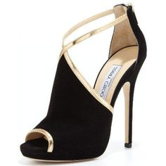 Pre-Owned Jimmy Choo Fey Black Open Toe Ankle Sandals Size 38.5 Nib... (635 AUD) ❤ liked on Polyvore featuring shoes, sandals, heels, pumps, scarpe, black, metallic heeled sandals, metallic sandals, heeled sandals and black strappy sandals