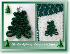 Free crochet pattern for an versatile Christmas tree applique pattern