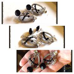 Handmade stainless steel wire weaved 2 in 1 earrings. With swarovski rivoli and bicone beads. Made by Tanja Stokin - Zojani.