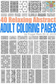 FREE Calming Abstract Adult Coloring Pages - 40 pages of completely free abstrac. - Coloring Pages Abstract Coloring Pages, Coloring Book Pages, Coloring Sheets, Doodle Coloring, Coloring Pages For Kids, Fairy Coloring, Kids Coloring, Mandala Coloring, Printable Adult Coloring Pages