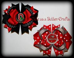 Set of 2 Beautiful medium Ohio State Buckeyes inspired Boutique style hair bow clip Bundle and save OSU on Etsy, $11.00
